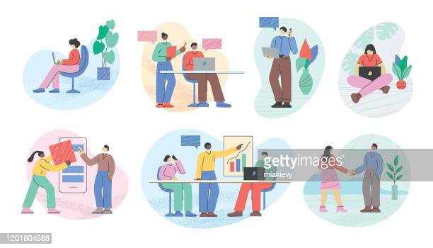 business people office life - employee engagement stock illustrations