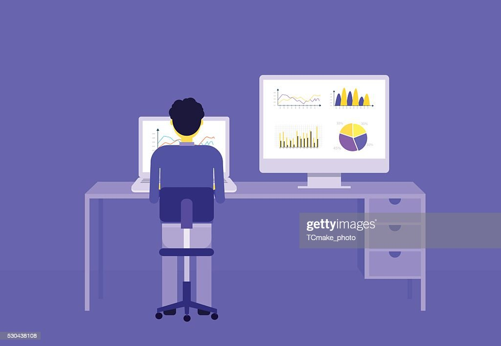 business people on analytic graph monitor.business investment planning