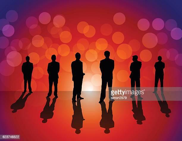 Geschäftsleute auf farbigen Hintergrund