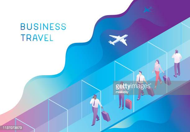 business people on jet bridge - business travel stock illustrations, clip art, cartoons, & icons