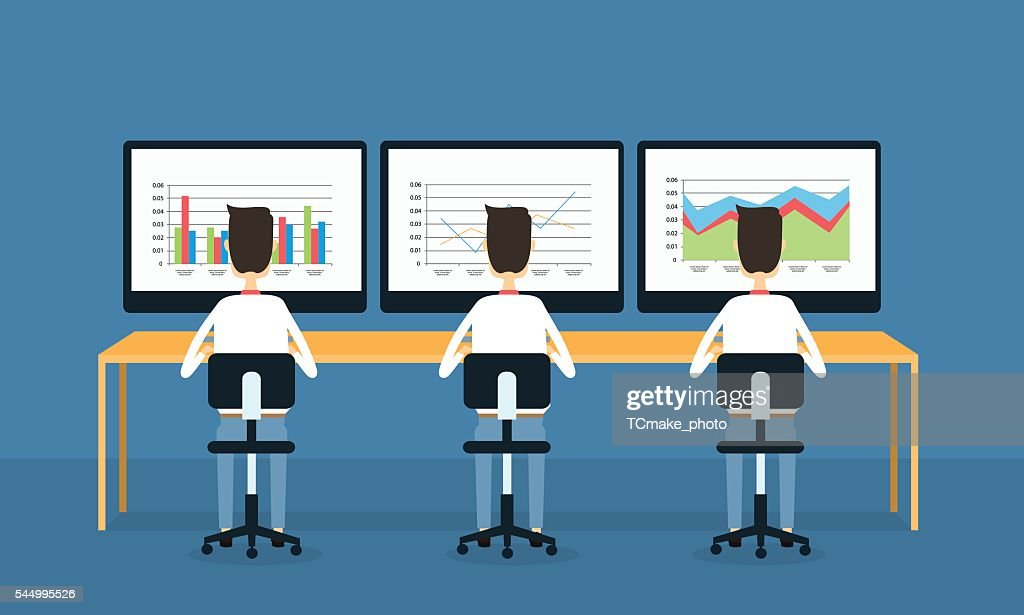 business people on monitor report graph and analysis concept