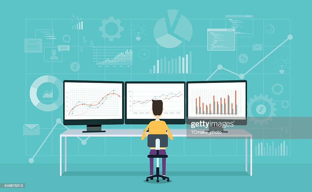 business people on monitor report graph and business analyze : stock illustration
