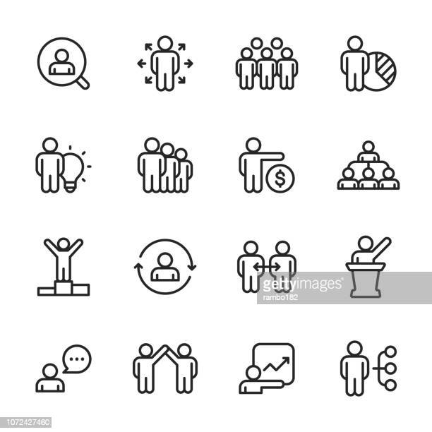 business people - outline icon set - employee stock illustrations