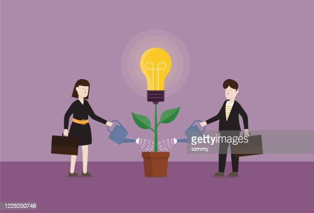 business people pouring water to plant a light bulb tree - sharing economy stock illustrations