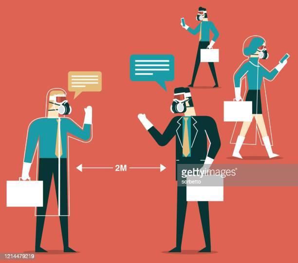 business people - protective workwear - avian flu virus stock illustrations