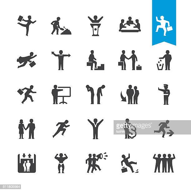 business people relationship vector icons - arm in arm stock illustrations, clip art, cartoons, & icons