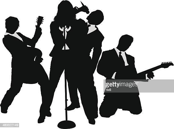 Business people rock band