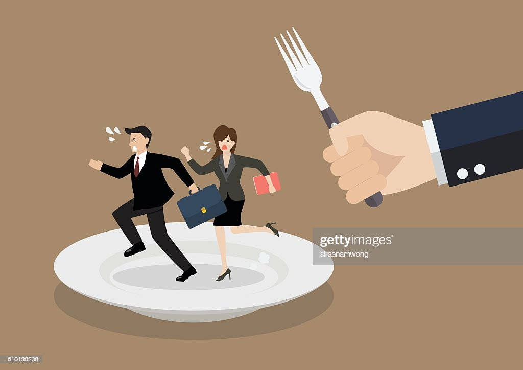 Business people run away from big hungry man