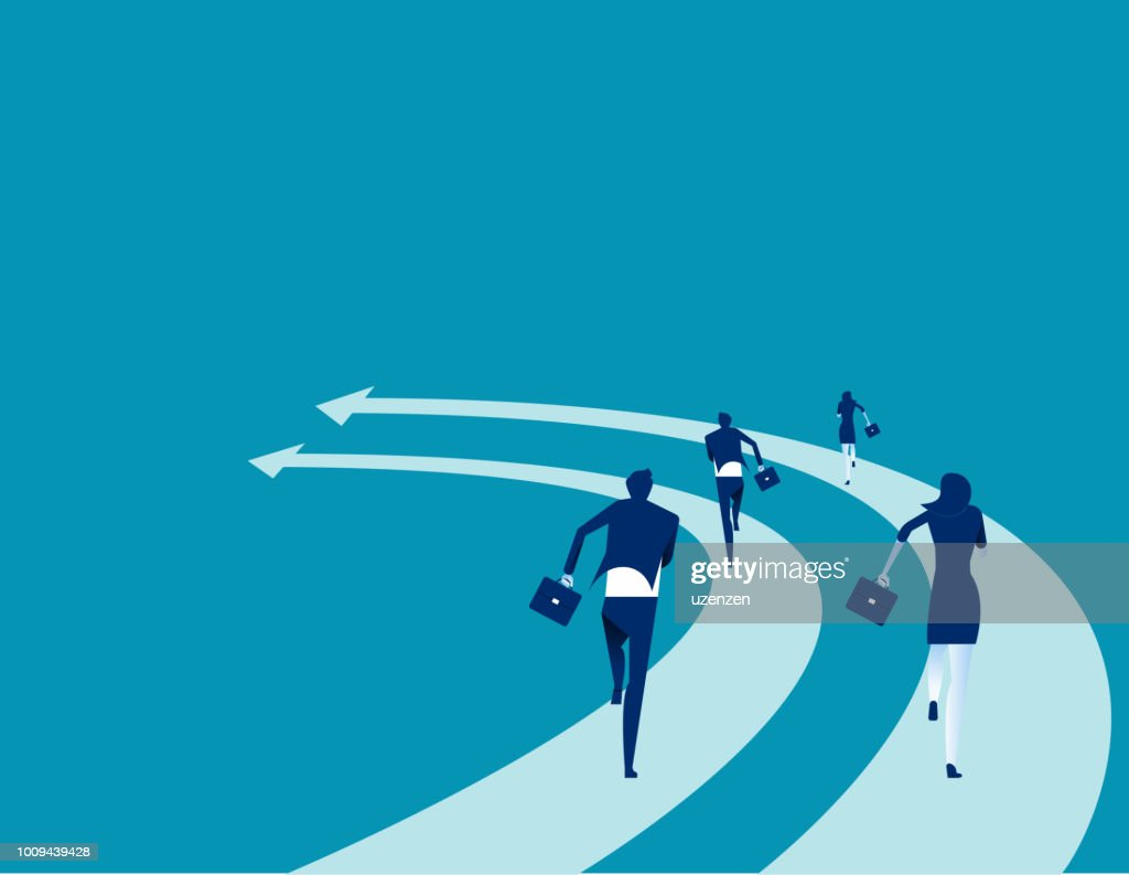 Business people run on the arrows. Concept business competition vector illustration. Flat business cartoon, Speed, Togetherness, Office Team, Back view.