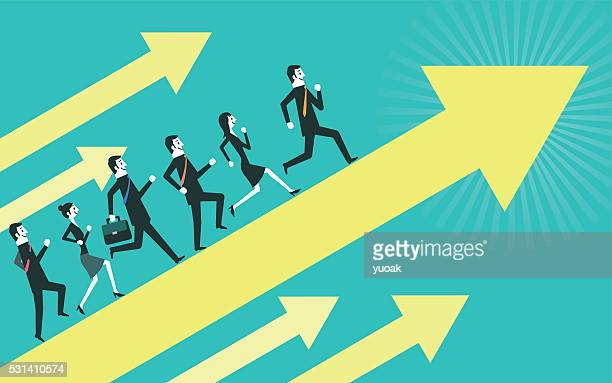 business people run up on the arrow - jumping stock illustrations