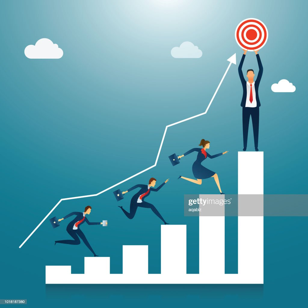 Business people running for the goal or success, one of them achieve the goal standing on column graph on shiny cloudy background.