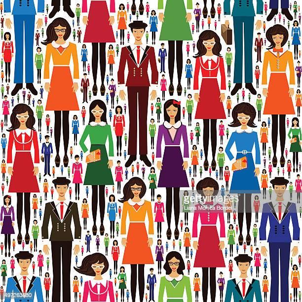 Business People Seamless Pattern, Education