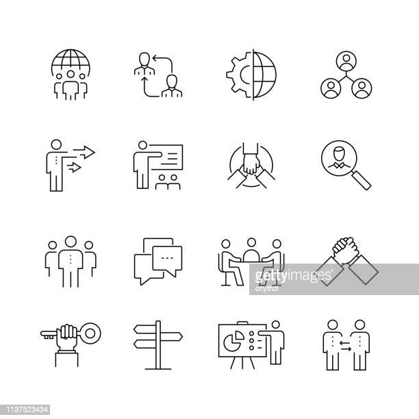 business people - set of thin line vector icons - diversity stock illustrations