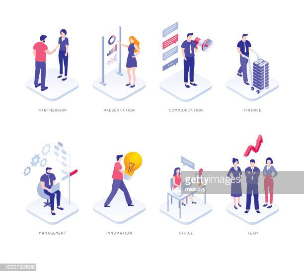 business people set - partnership teamwork stock illustrations