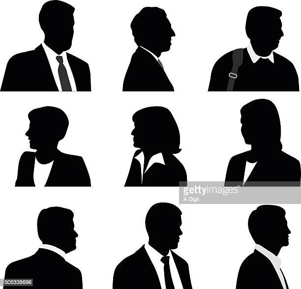 business people silhouette profile - mature adult stock illustrations