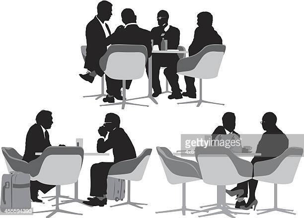 ilustraciones, imágenes clip art, dibujos animados e iconos de stock de la gente de negocios y sala de estar del restaurante - mesa de comedor