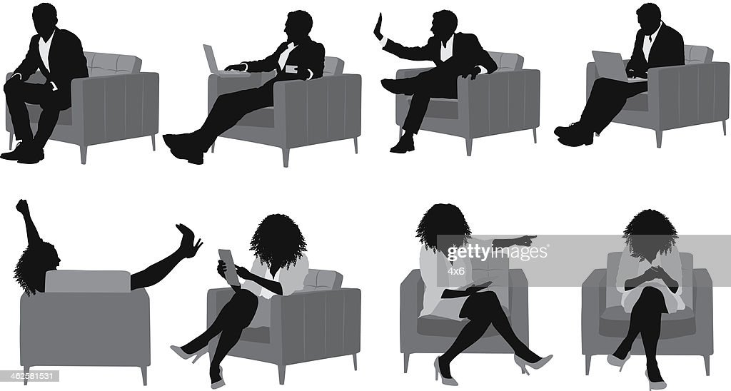 Business people sitting on armchair