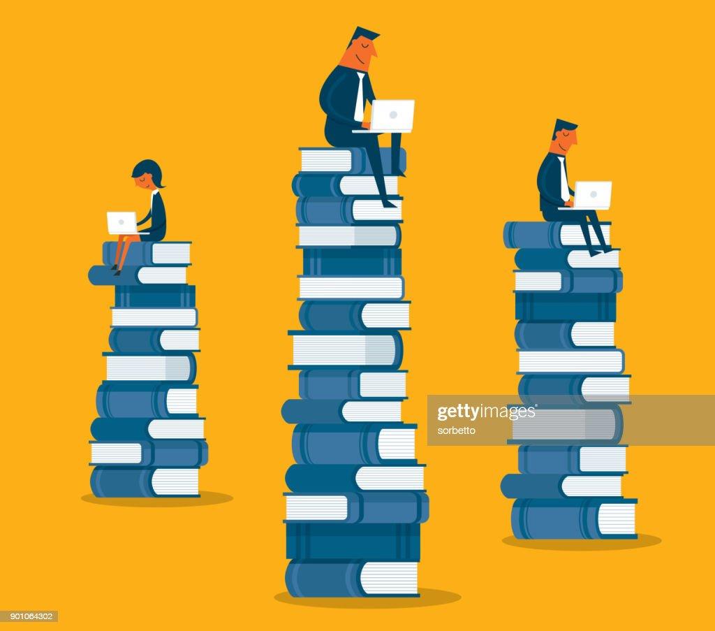 Business-Leute sitzen auf Bücher : Stock-Illustration