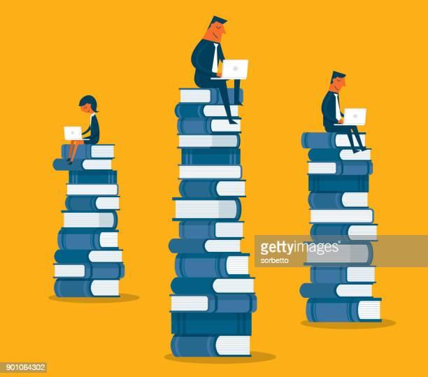 ilustrações, clipart, desenhos animados e ícones de pessoas de negócios sentado em livros - biblioteca