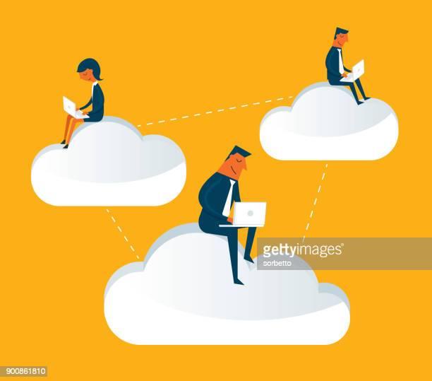 ilustrações, clipart, desenhos animados e ícones de pessoas de negócios, sentado na nuvem e trabalhando - cloudscape