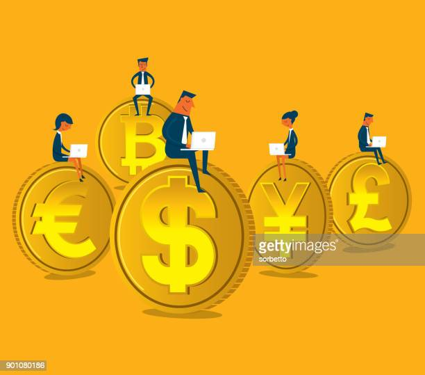Business people sitting on coin