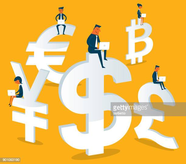 Business people sitting on currency