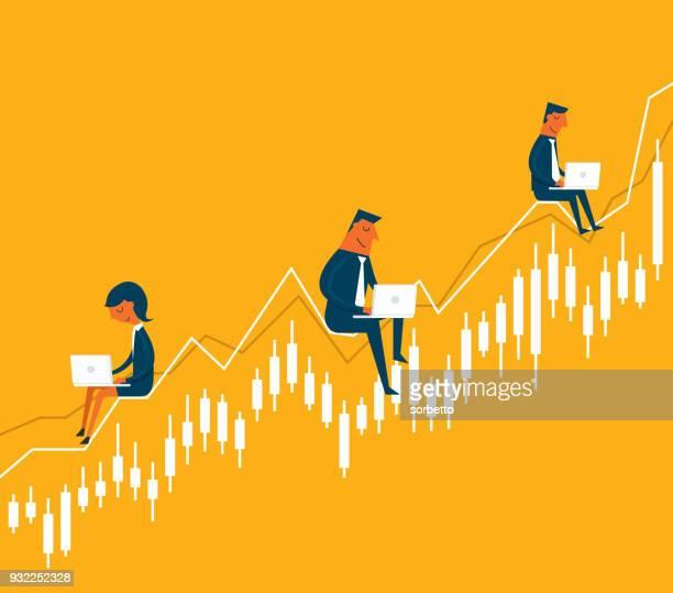 business-leute sitzen auf diagramm - handel treiben stock-grafiken, -clipart, -cartoons und -symbole