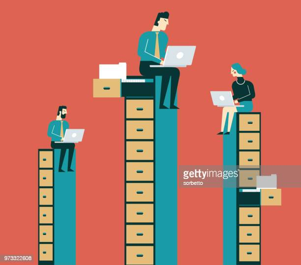 business people sitting on filing cabinet - fileira stock illustrations
