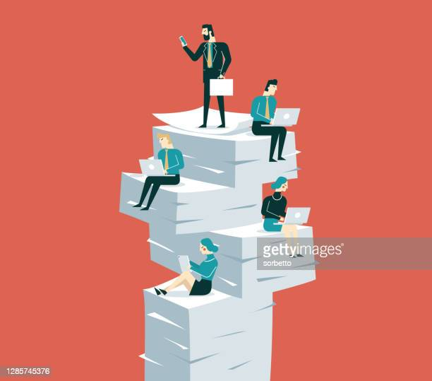 business people sitting on piles of documents working - deadline stock illustrations