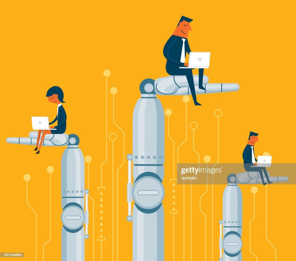 Business people sitting on Robot : stock illustration