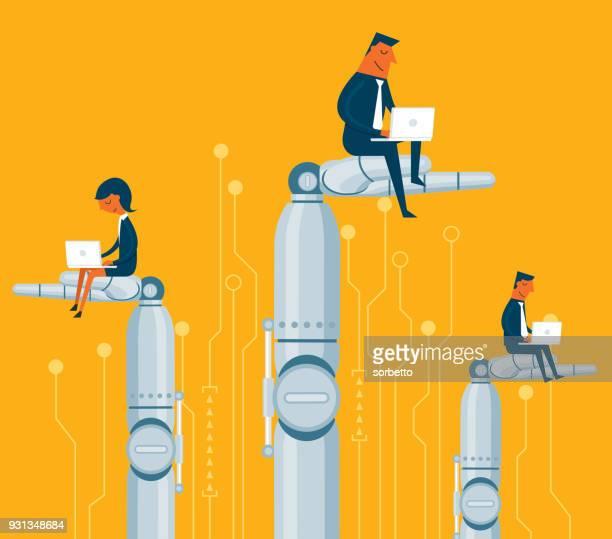 Business-Leute sitzen auf Roboter