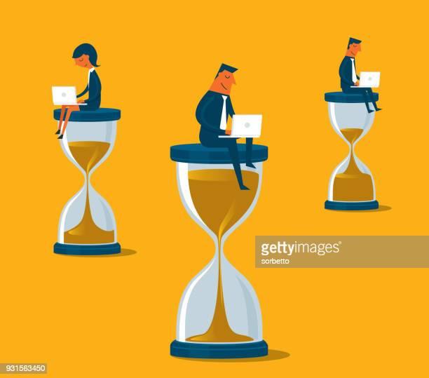 ilustrações, clipart, desenhos animados e ícones de pessoas de negócios, sentado sobre a ampulheta com laptop - cronômetro instrumento para medir o tempo