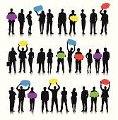 Business people social networking with speech bubbles