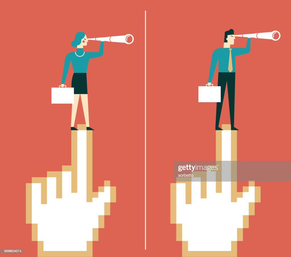 business people stand cursor hand : stock illustration