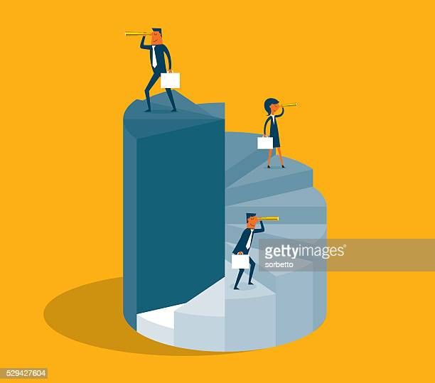 business people stand on pie diagram - fate stock illustrations