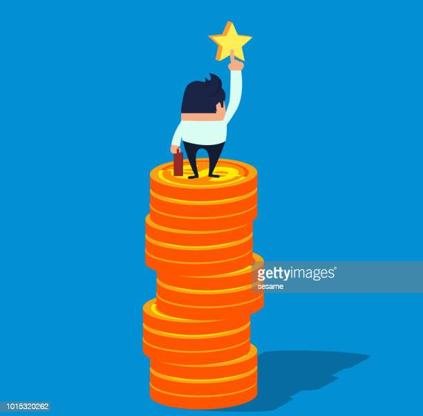 business people stand on the gold coin and pick the stars - high up stock illustrations, clip art, cartoons, & icons