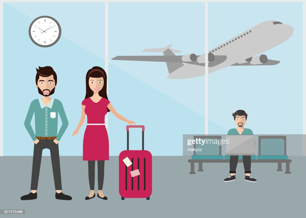 Business people standing at airport terminal, business travel concept. Flat vector illustration