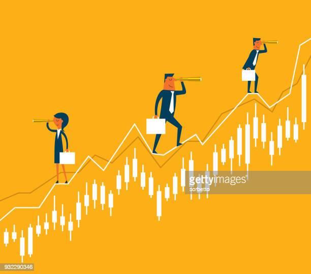 geschäftsleuten stehen auf diagramm - liniendiagramm stock-grafiken, -clipart, -cartoons und -symbole