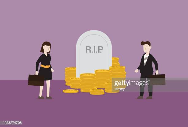 business people stands in front of tombstone and money - rest in peace stock illustrations