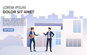 Business people talking, building and sample text