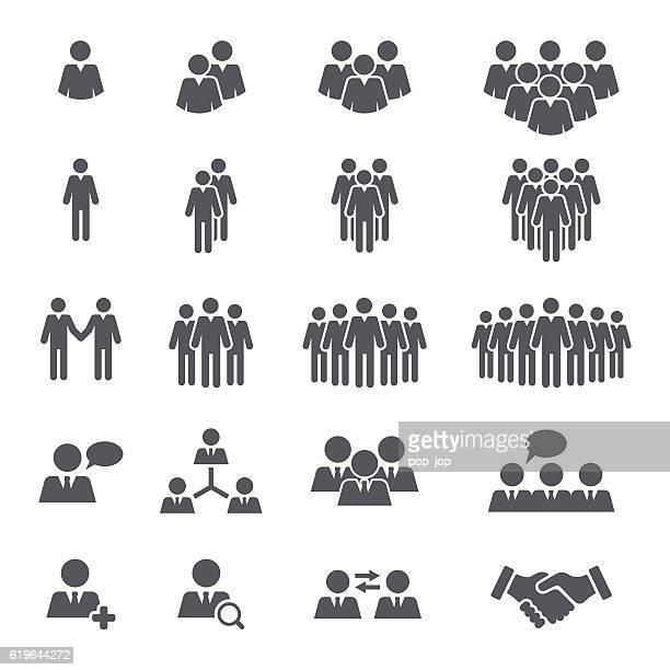 business people team icon set - people stock illustrations