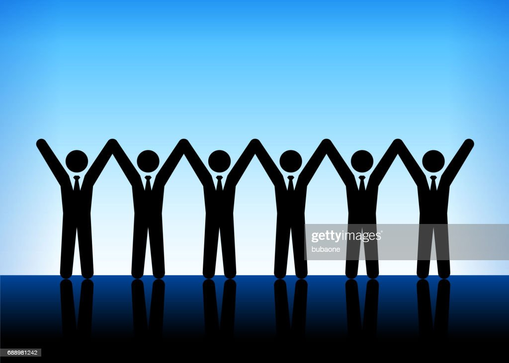 Business People Teamwork And Unity On Blue Vector Background