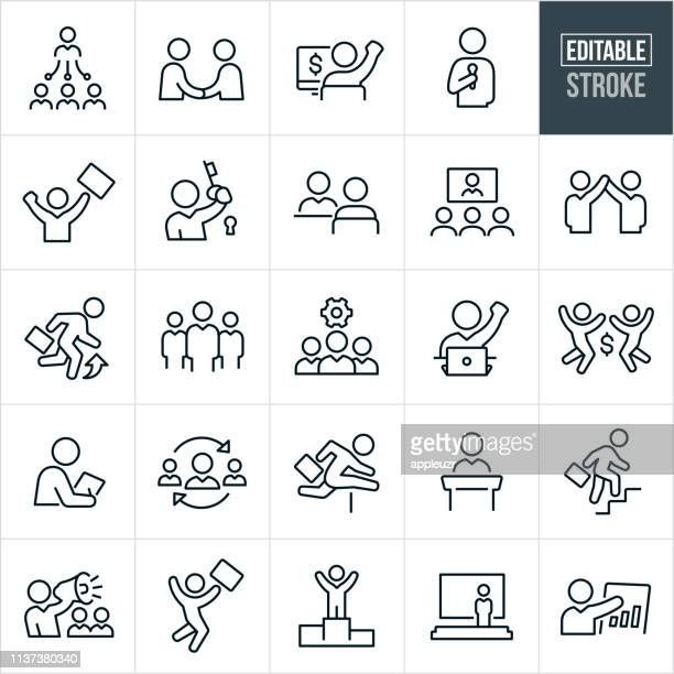business people thin line icons - editable stroke - hurdle stock illustrations