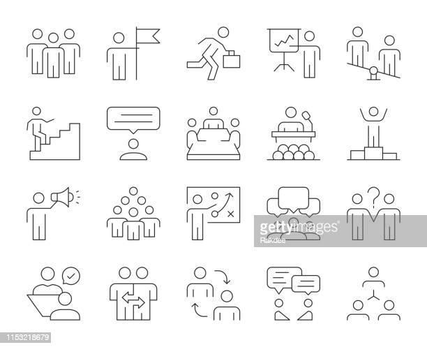 geschäftsleute-dünnahle-icons - meeting stock-grafiken, -clipart, -cartoons und -symbole
