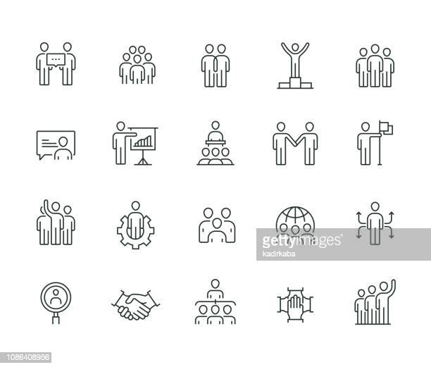 business people thin line series - icon set stock illustrations