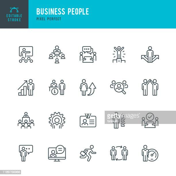 illustrazioni stock, clip art, cartoni animati e icone di tendenza di business people - thin linear vector icon set. pixel perfect. editable stroke. the set contains icons people, teamwork, partnership, presentation, leadership, growth, manager. - gruppo di oggetti