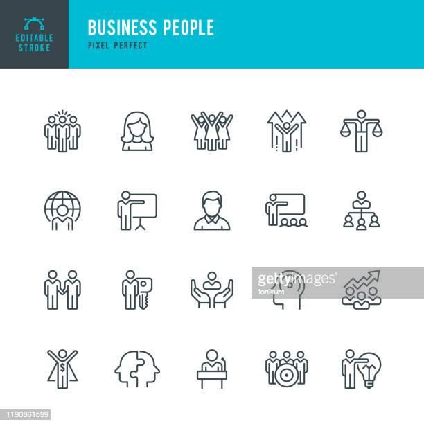 business people - dünner linearer vektorsymbolsatz. pixel perfekt. bearbeitbarer strich. pixel perfekt. das set enthält symbole: personen, teamarbeit, partnerschaft, präsentation, führung, wachstum, manager. - führungstalent stock-grafiken, -clipart, -cartoons und -symbole