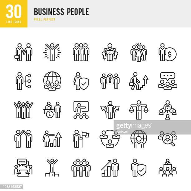 ilustrações, clipart, desenhos animados e ícones de business people - fino conjunto de ícones de vetor linear. pixel perfeito. o conjunto contém ícones como pessoas, trabalho em equipe, apresentação, liderança, crescimento, gerente, sucesso, parceria e assim por diante. - pessoas