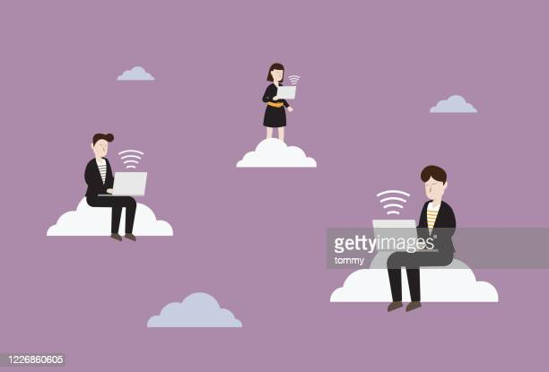 business people use wireless technology to work - new normal concept stock illustrations