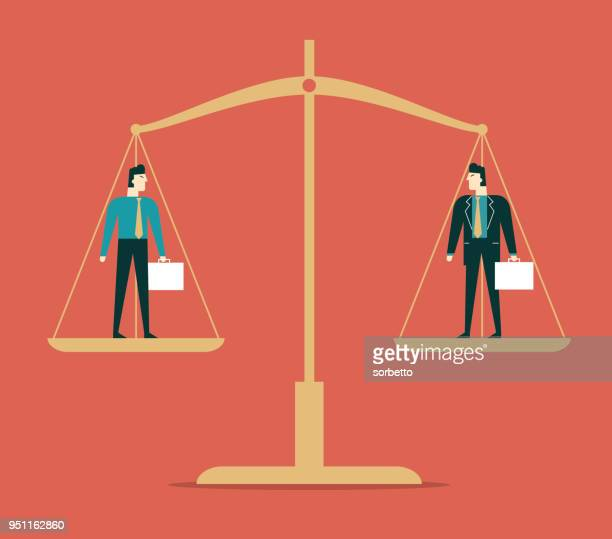 business people - weight scale - libra stock illustrations